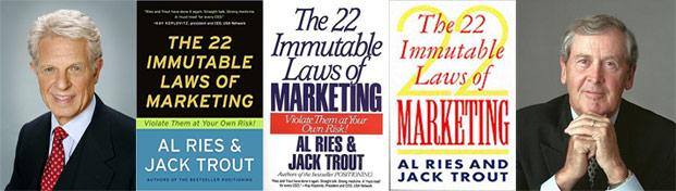 الإصدارات المختلفة لكتاب 22 قانونا في التسويق لمؤلفيه جاك تراوت (يمين) و آل رييس (يسار)