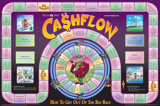 لعبة كاش فلو الورقية، نتاج فكر روبرت كيوساكي والتي يشرحها كتابه أبي الغني أبي الفقير