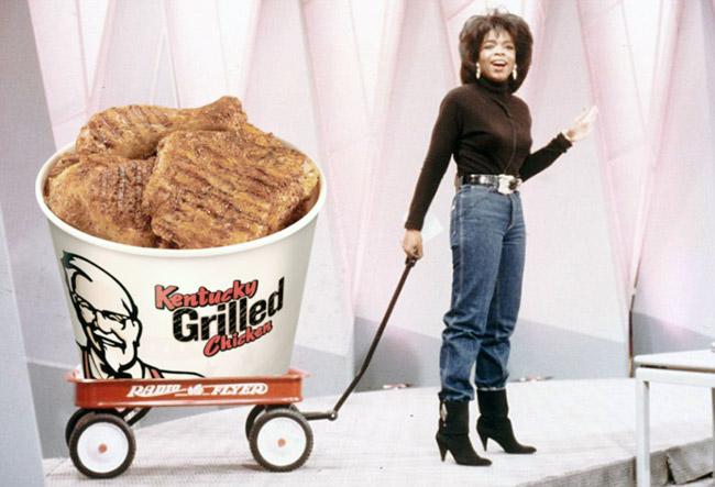 إحدى محاولات التسويق الذكي - أوبرا وينفري تقدم وجبة دجاج كيه اف سي مجانية لكل أمريكا